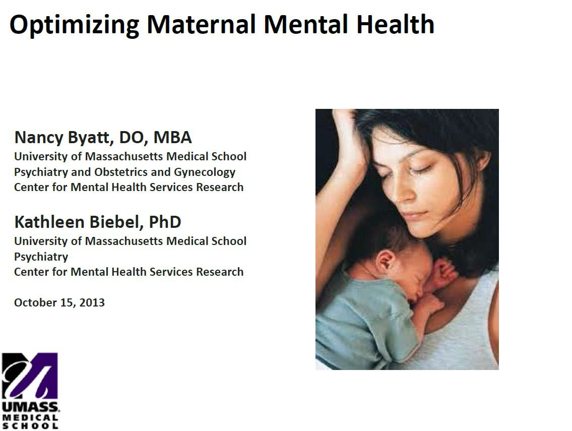 Optimizing Maternal Mental Health