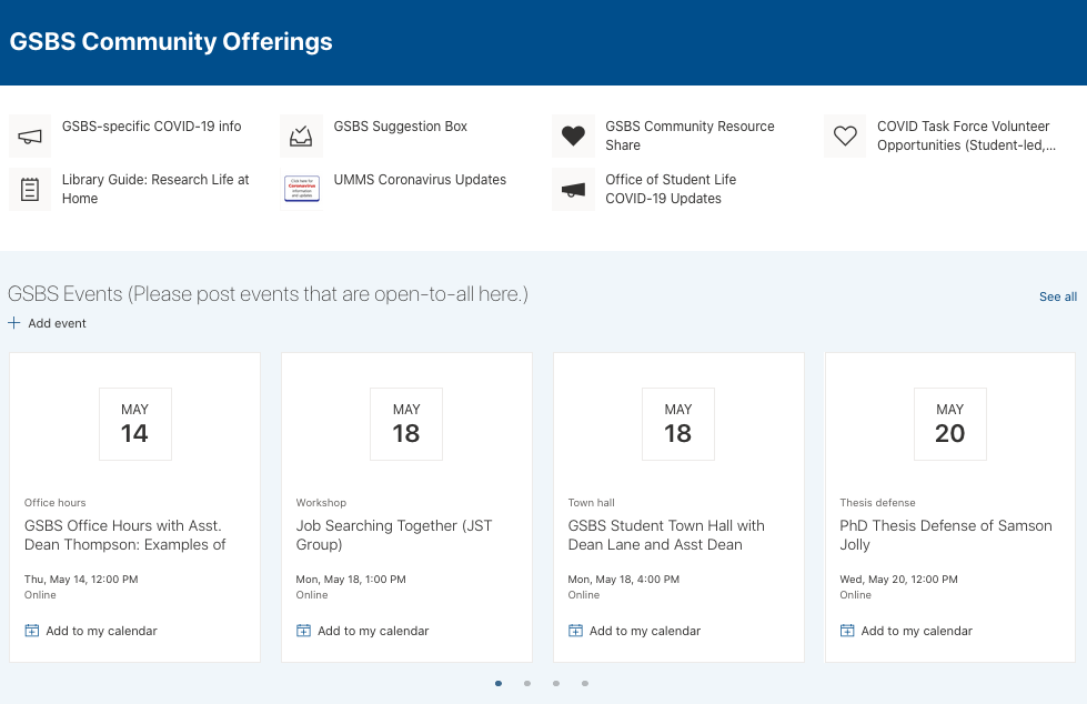 GSBS Community Offerings via Sharepoint