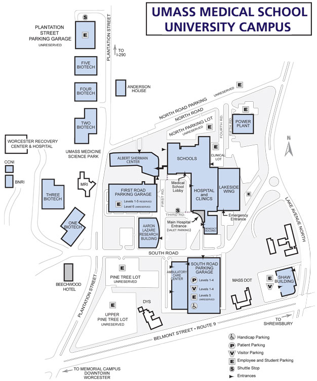 UMass Medical School Worcester campus map