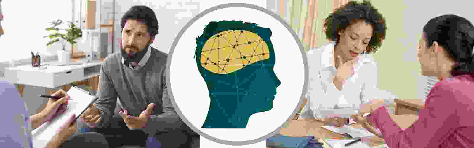 Icon of connections within a brain flanked by images of people in counseling