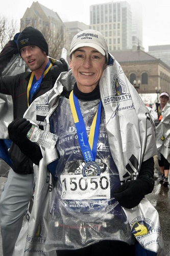 Laura Alonso, MD, after finishing the Boston Marathon