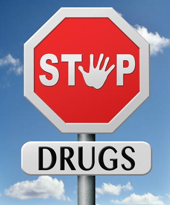 Stop Drugs stop sign with a hand