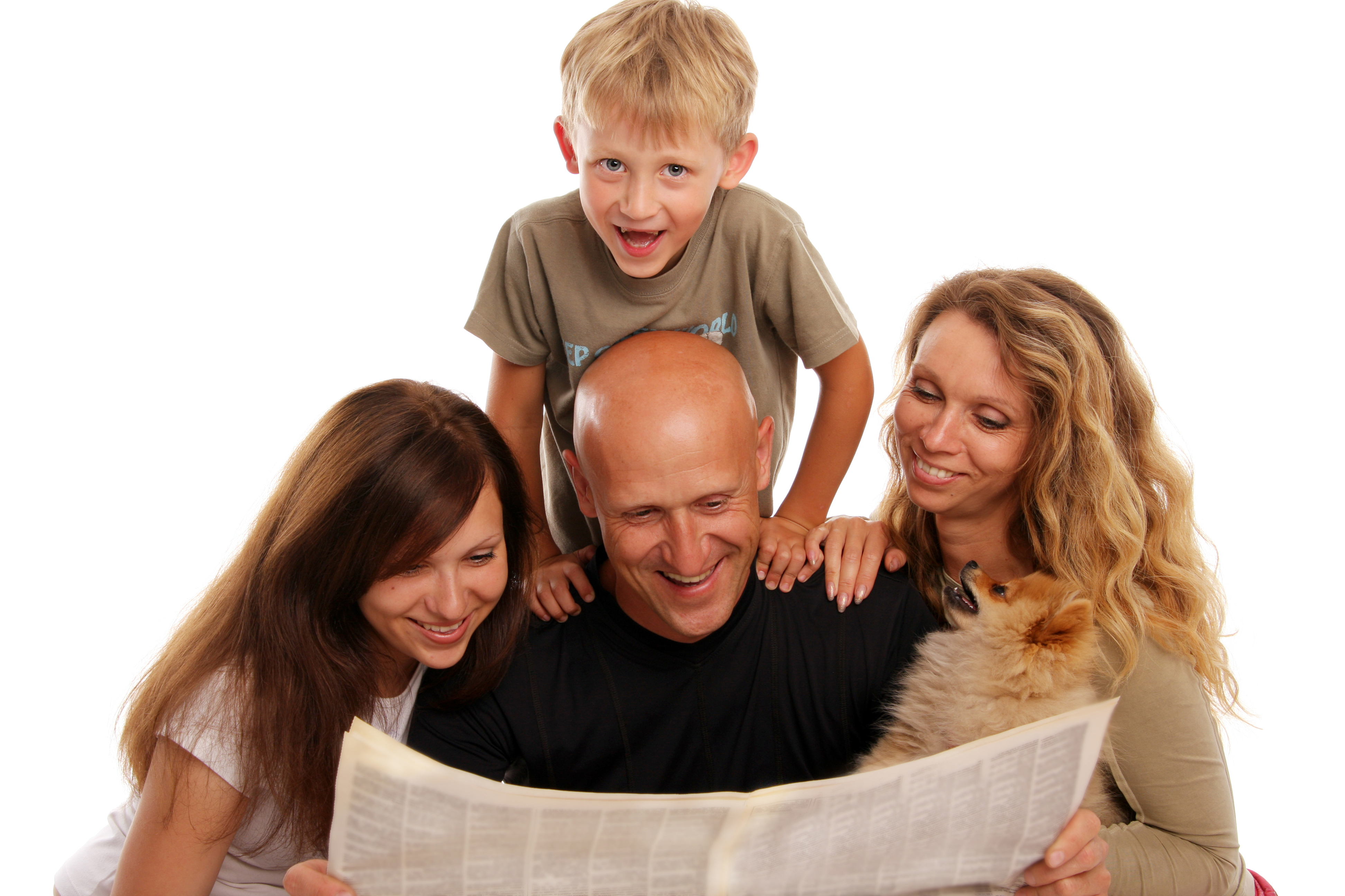 family reads the news