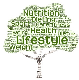 Word cloud shaped like a tree with health and wellness words inside