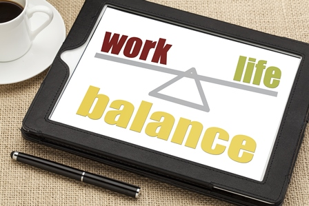 work life balance graphic on table next to cup of coffee