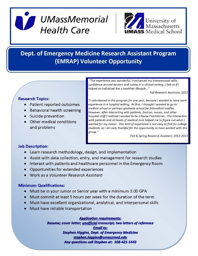 University of Massachusetts Medical School Emergency Medicine Volunteer Research Opportunities