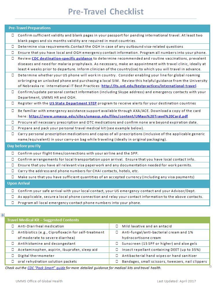 Pre Travel Checklist Ogh