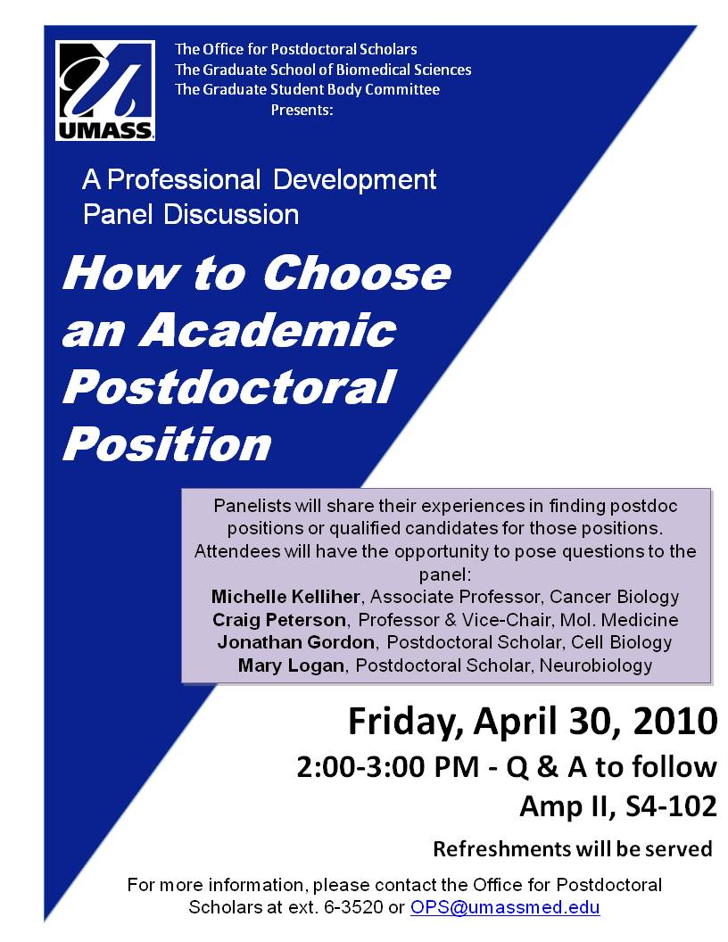 How to choose a postdoctoral position - A Panel Discussion