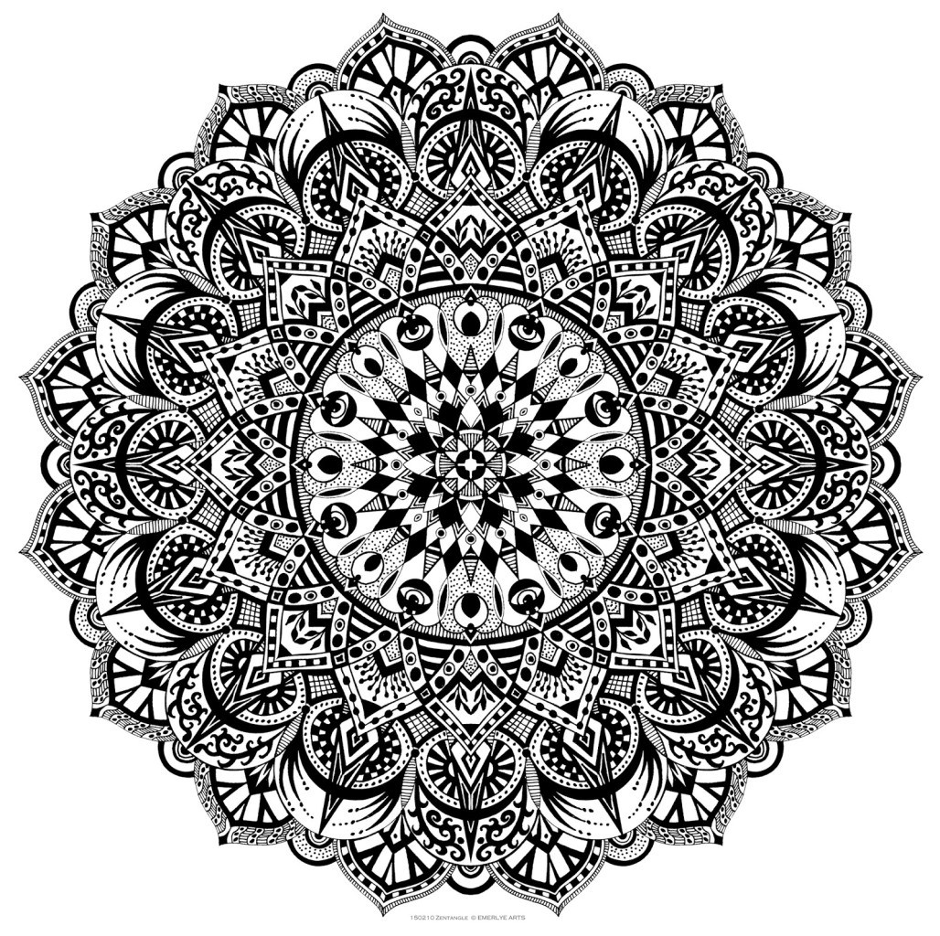 An evening of zentangle - Design art black and white ...