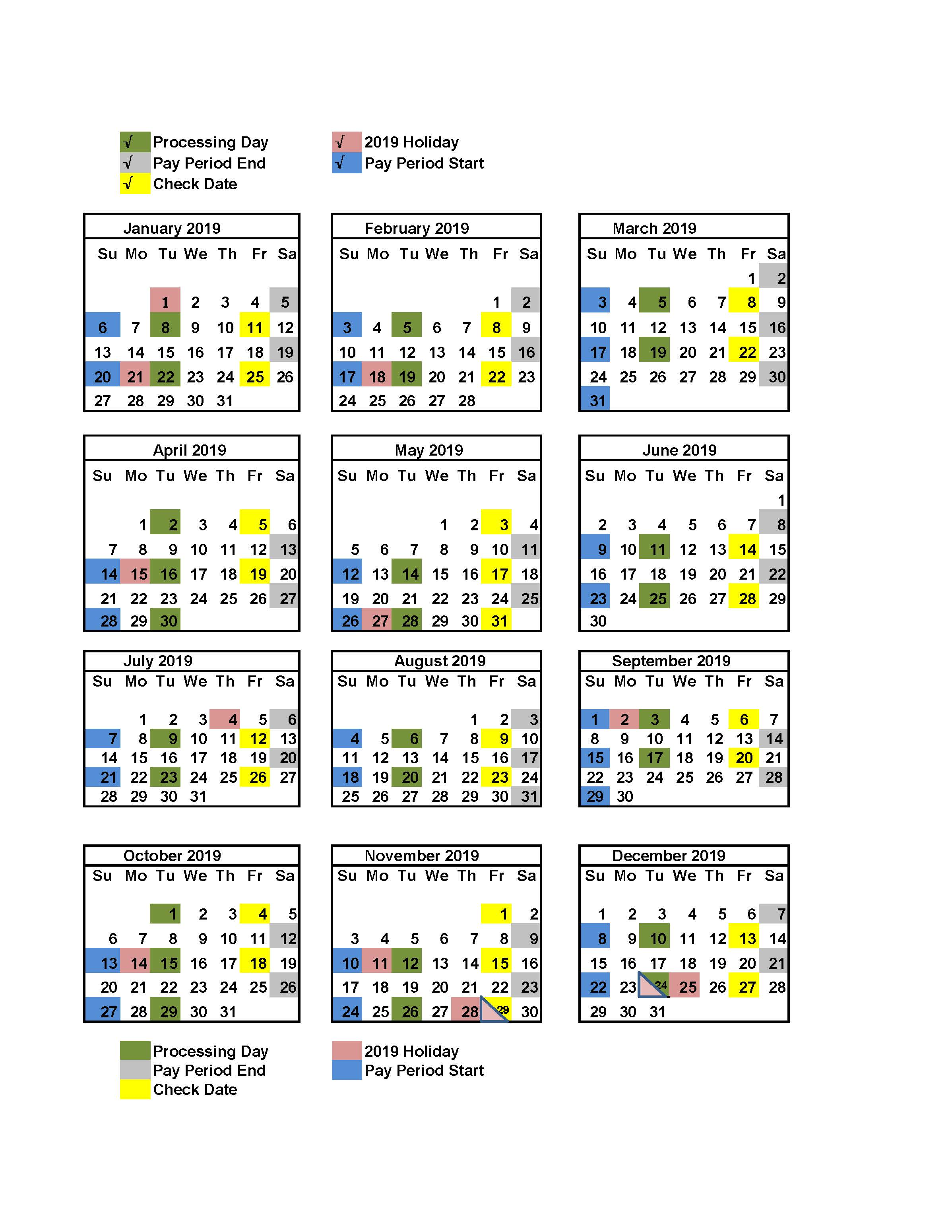 2019 Federal Pay Period Calendar Your Pay