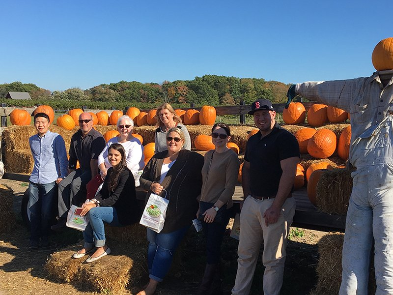 UMMS Employees visit the apple orchard. Pumpkins in background.