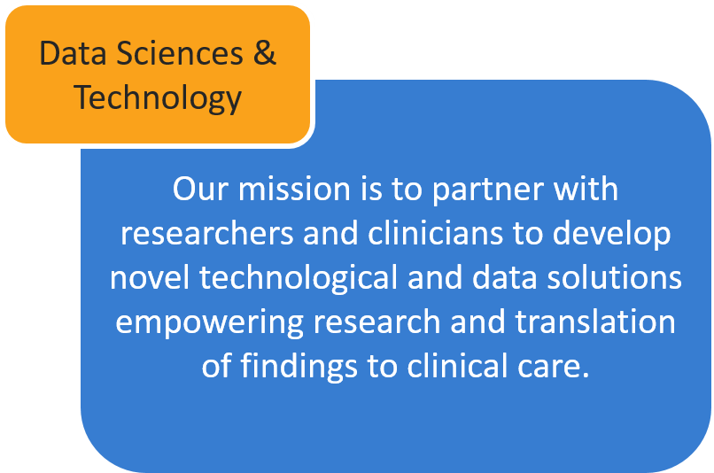 Our mission is to partner with researchers and clinicians to develop novel technological and data solutions empowering research and translation of findings to clinical care.