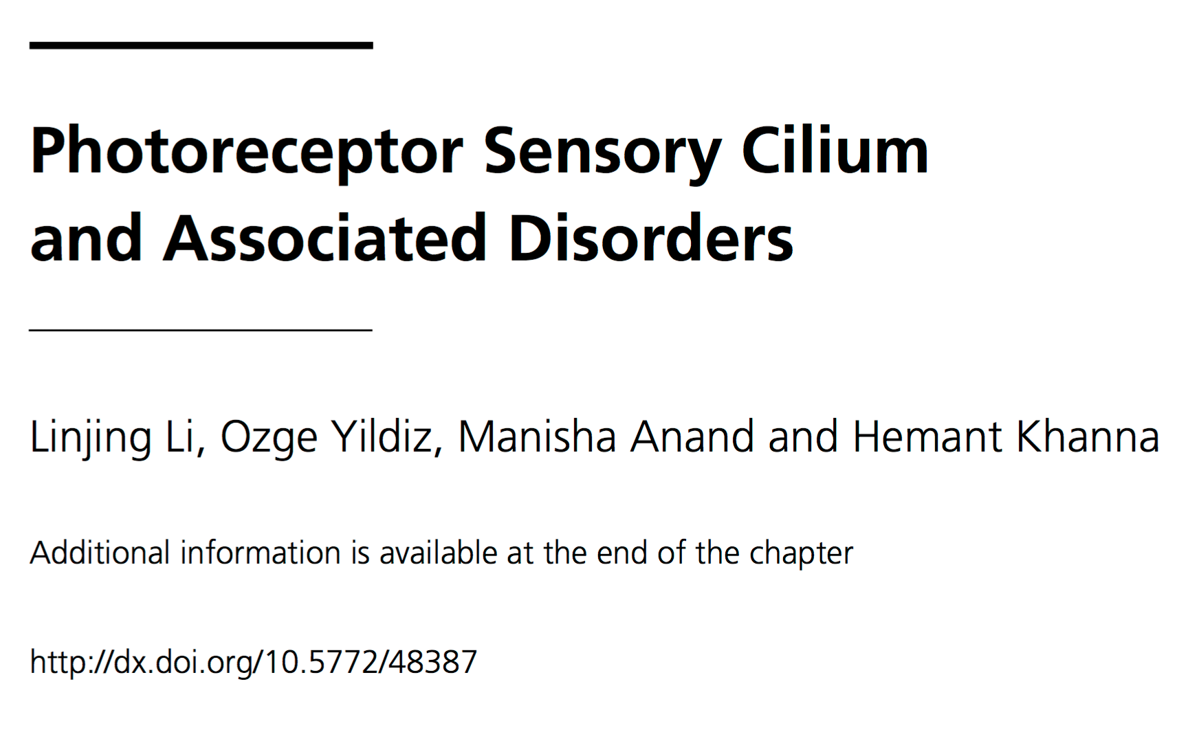 Photoreceptor Sensory Cilium and Associated Disorders