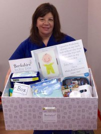 Lisa Audette with baby box