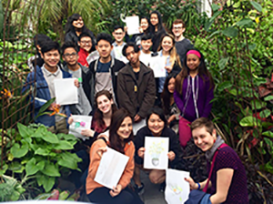 Youth members of the Worcester Refugee Assistance Project are pictured at Tower Hill Botanic Garden