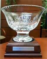 A commemorative crystal bowl given to the UMass Medical School Office of Faculty Affairs in recognition of the $250,000 ACE/Sloan Award for Faculty Career Flexibility.