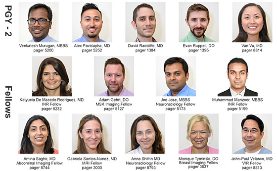 New UMMS Radiology Residents and Fellows 2016