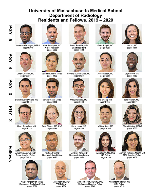 UMMS Radiology Residents and Fellows 2019-2020