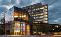 The Albert Sherman Center at UMass Medical School, pictured at night