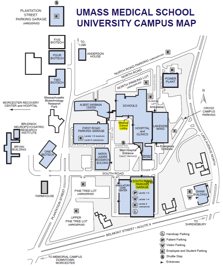 song lab umass medical school parking map