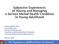 Subjective Experiences of Having and Managing a Serious Mental Health Condition in Young Adulthood | Cheer study thumbnail