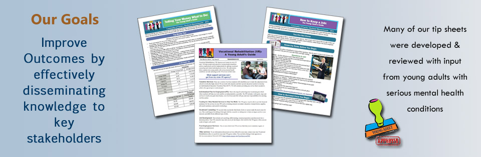 young adult with smhc tipsheets and publications