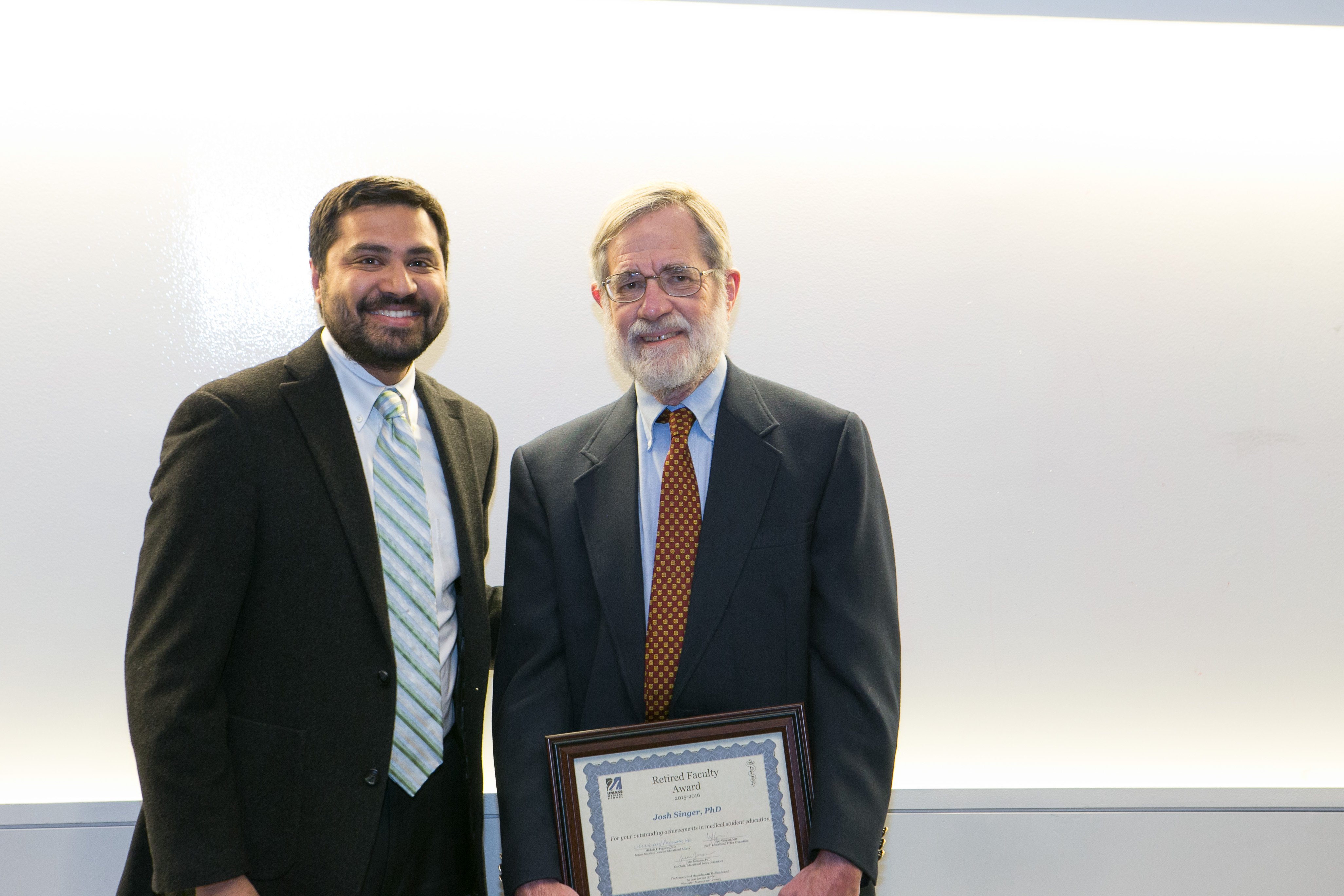 Vijay K. Vanguri, MD Chair, Educational Policy Committee Joshua J. Singer, PhD with the Retired Faculty Teaching Award.