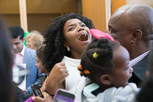 Chioma Okwara celebrates her match at the Brigham and Women's Hospital with her father. Chioma Okwara celebrates her match at the Brigham and Women's Hospital with her father.